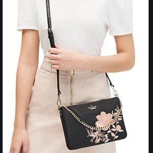 Kate Spade black pink madelyne crossbody bag purse